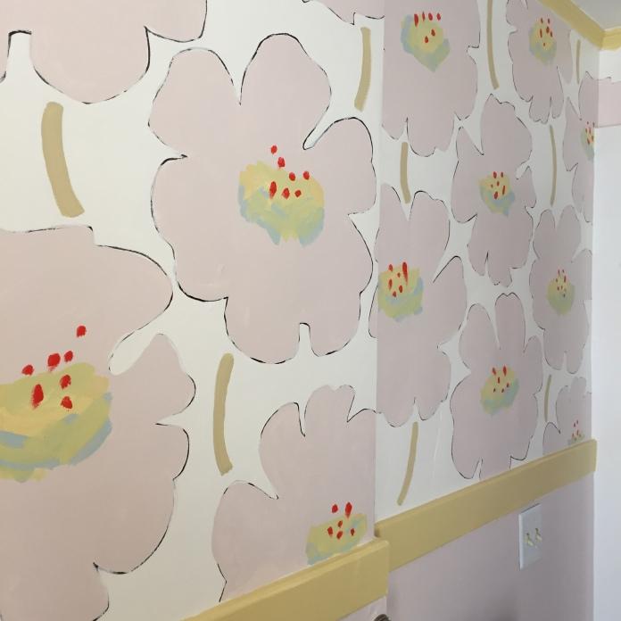 Hand painted latex bathroom walls